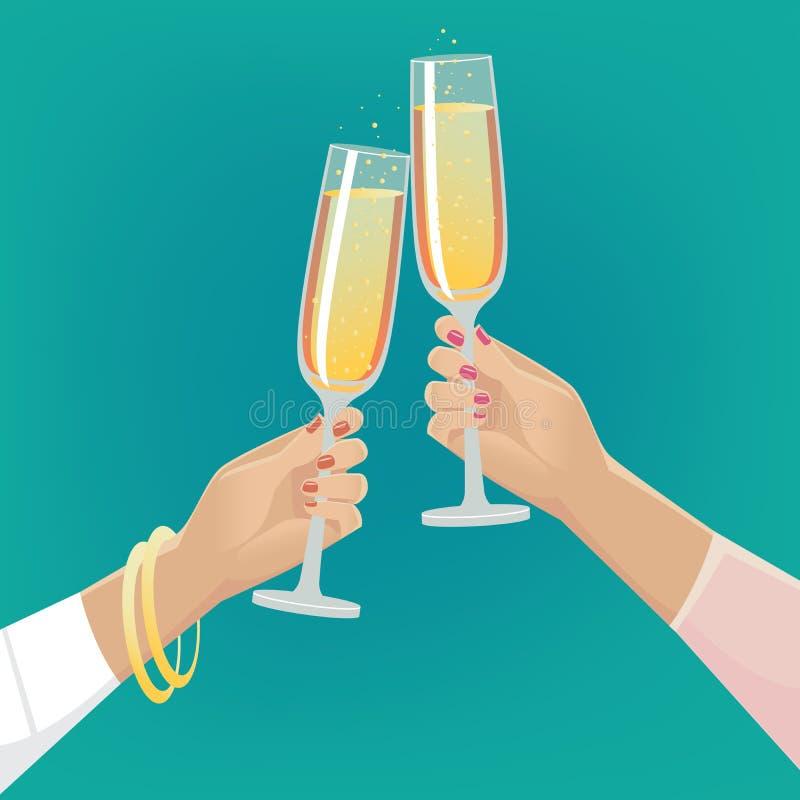 Vidros do tim-tim das amigas do champanhe ilustração stock