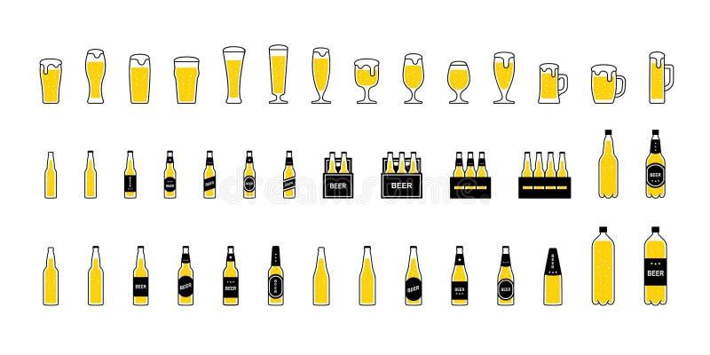Vidros e garrafas de cerveja com espuma e bolhas, grupo dos ícones Vetor ilustração royalty free