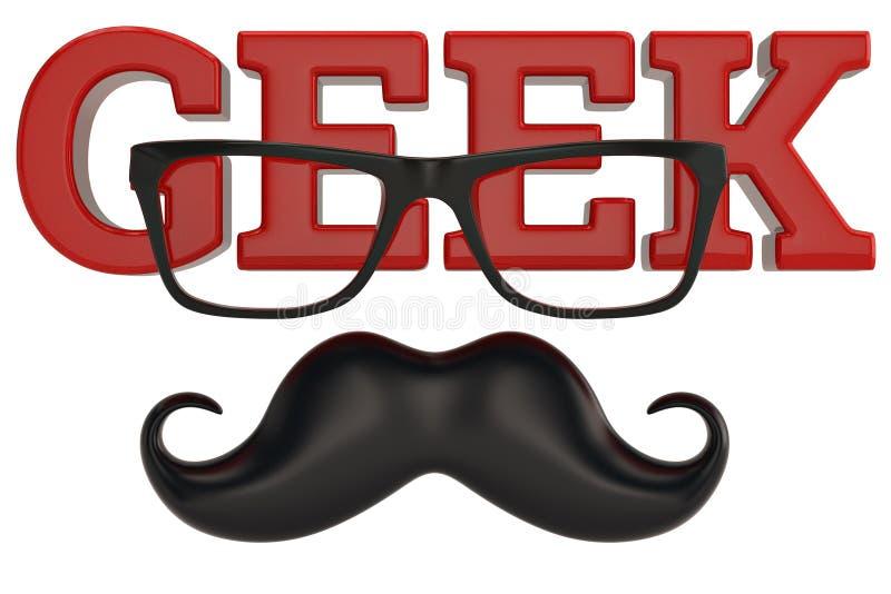 Vidros e logotipo do totó do bigode isolado no fundo branco 3D mim ilustração do vetor