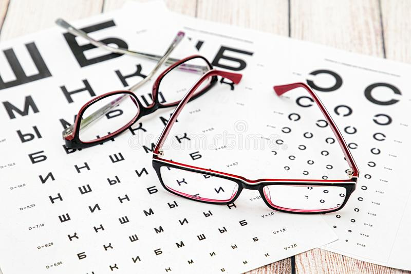 Vidros e tabelas de vista do olho foto de stock
