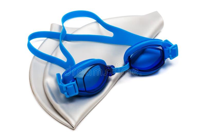 Vidros e tampão para a natação fotografia de stock royalty free