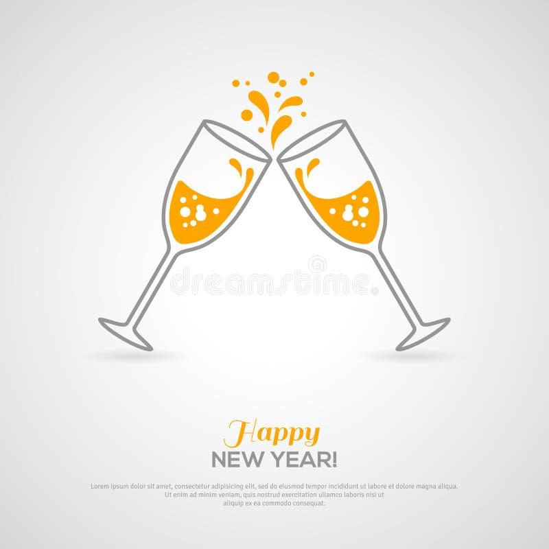 Vidros efervescentes do champanhe Conceito de Minimalistic ilustração royalty free