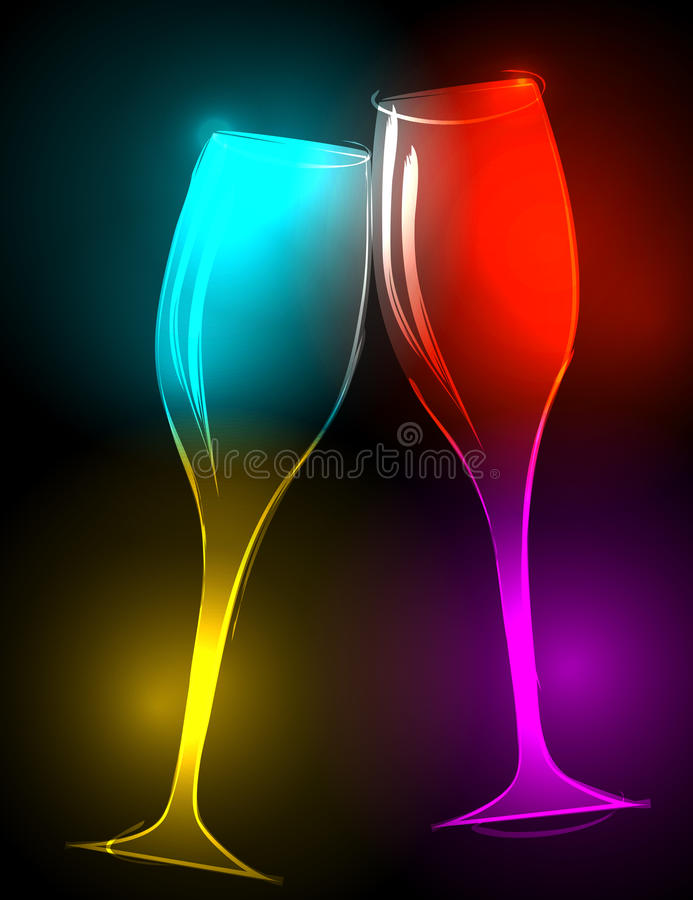 Vidros elegantes, resplandecendo do champanhe ilustração do vetor