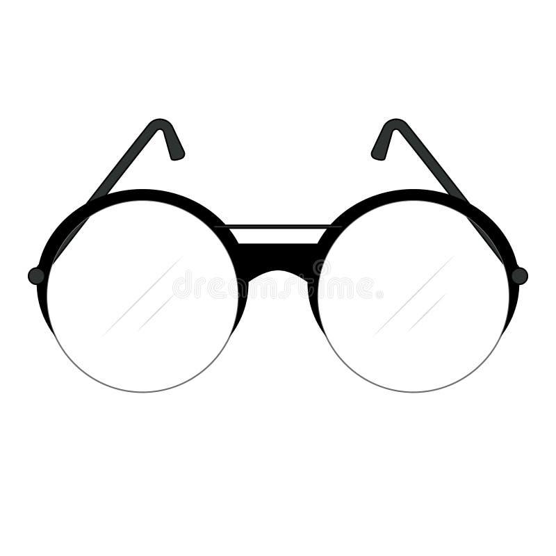 Vidros elegantes retros cl?ssicos com lentes e os templos redondos com quadro e lentes da forma do c?rculo para homens Desenho do foto de stock royalty free