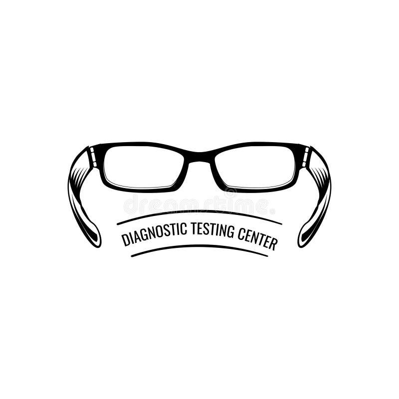 Vidros Etiqueta do logotipo do emblema do oculista Centro do teste de diagnóstico Eyeglasses Crachá médico Vetor ilustração do vetor