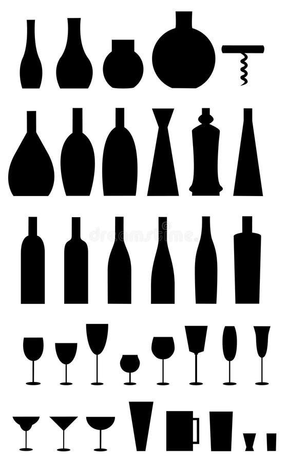 Vidros, frascos, abridor ilustração stock