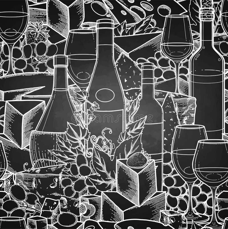 Vidros gráficos do vinho, das garrafas, das uvas e do queijo ilustração do vetor