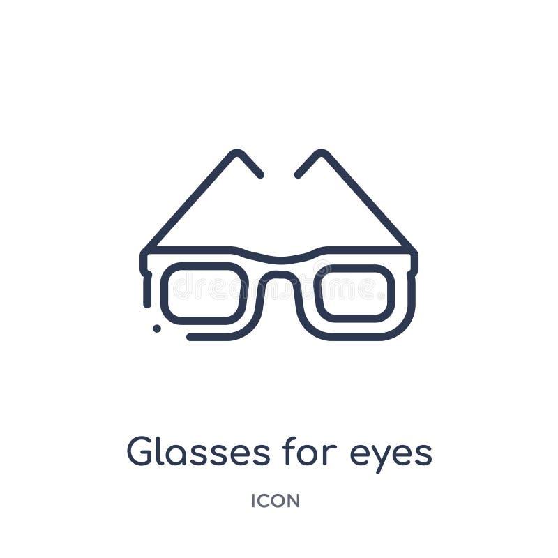 Vidros lineares para o ícone dos olhos da coleção médica do esboço Linha fina vidros para o ícone dos olhos isolado no fundo bran ilustração royalty free
