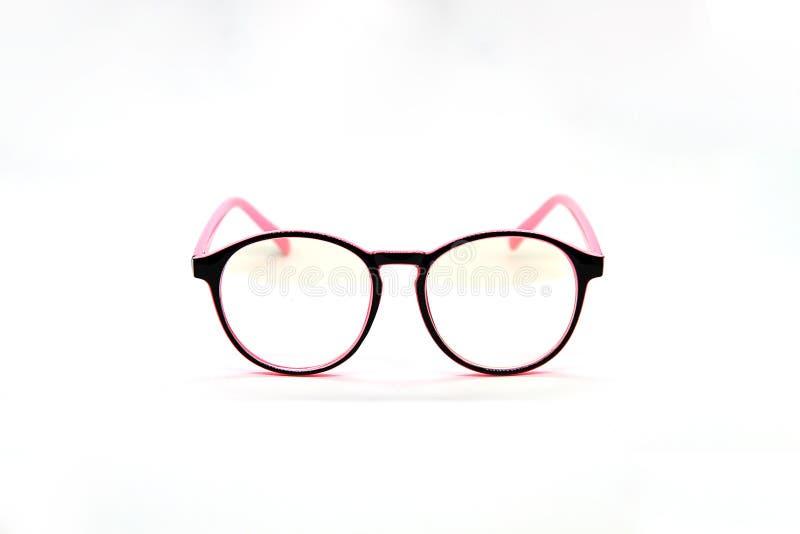 Vidros modernos do rosa e do olho roxo isolados no fundo branco foto de stock royalty free