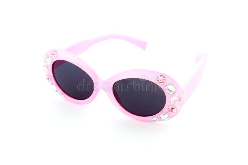 Vidros plásticos cor-de-rosa do brinquedo com joia para a menina imagem de stock royalty free