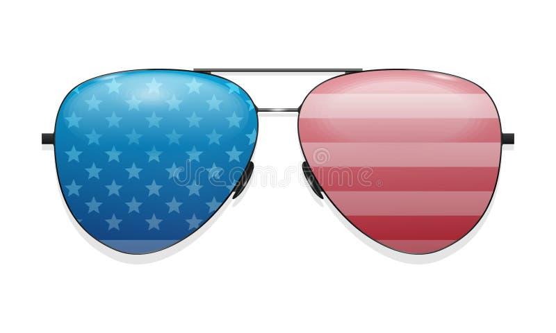 Vidros que refletem a bandeira dos E.U. Engrena o ?cone ilustração do vetor