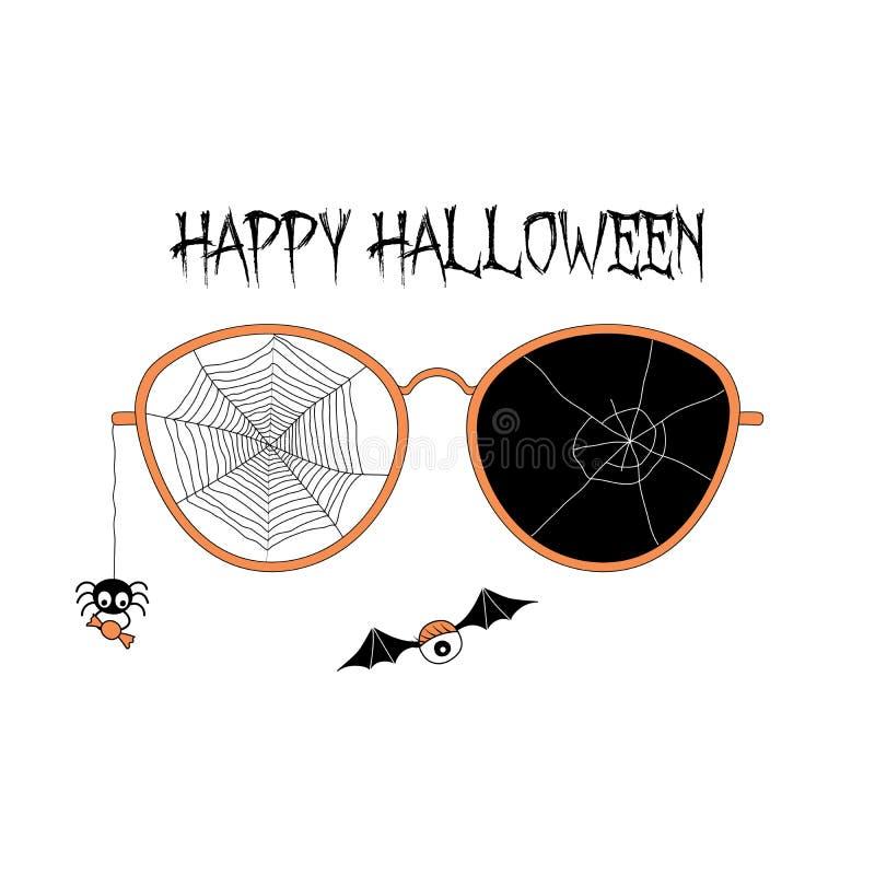 Vidros rachados com ilustração da Web de aranha ilustração do vetor