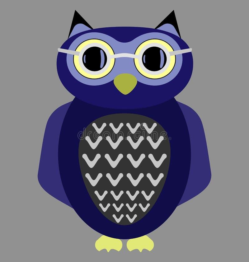 Vidros vestindo da coruja dos desenhos animados ilustração stock