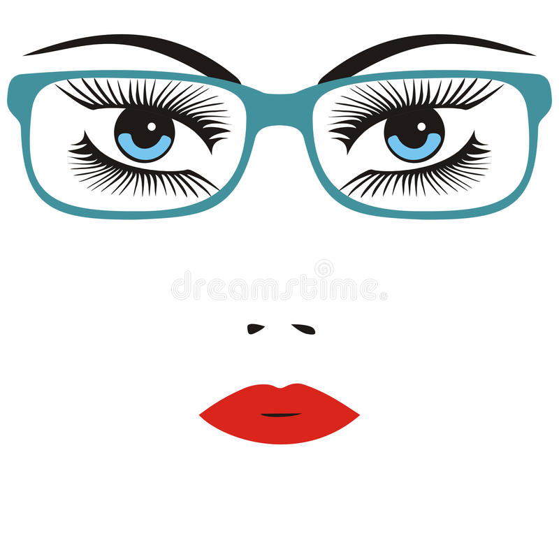 Vidros vestindo da jovem mulher esperta bonita Ilustração ilustração royalty free