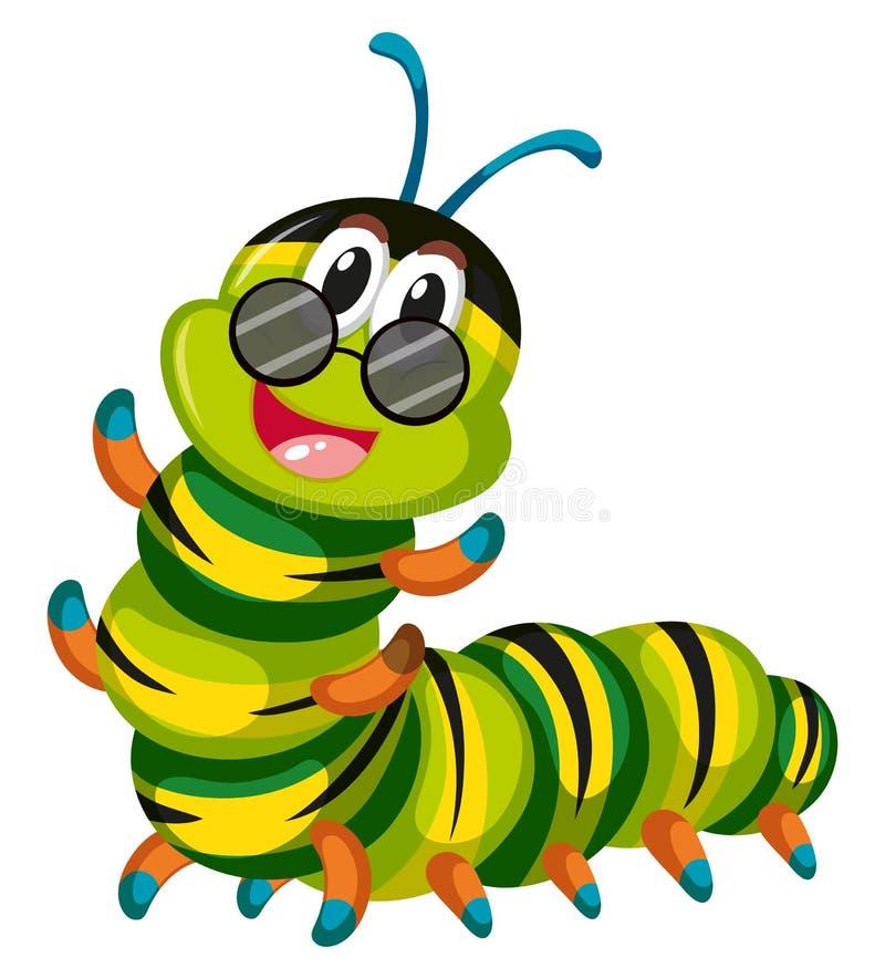 Vidros vestindo da lagarta bonito ilustração stock