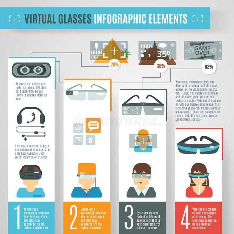 Vidros virtuais Infographics ilustração stock
