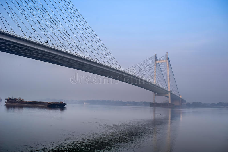 Vidyasagar Set most, Hooghly rzeka, Kolkata, Zachodni Bengalia, Ind zdjęcie royalty free