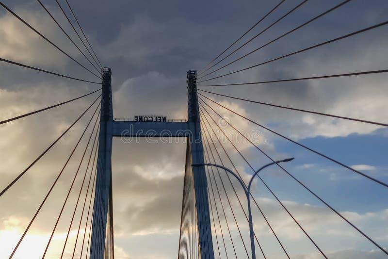 Vidyasagar Setu, le plus long câble - pont resté dans l'Inde photos stock