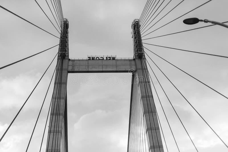 Vidyasagar Setu, le plus long câble - pont resté dans l'Inde photo stock