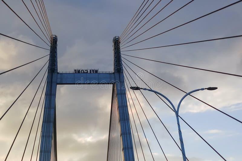 Vidyasagar Setu, le plus long câble - pont resté dans l'Inde photographie stock libre de droits