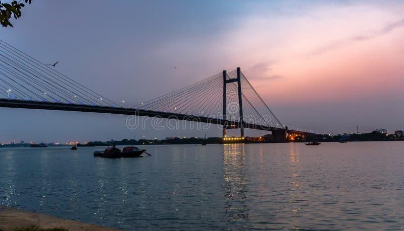 Vidyasagar Setu/Po drugie Hooghly most zdjęcie royalty free