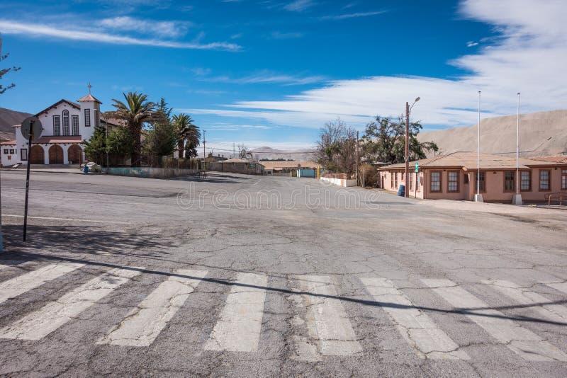 Vie abbandonate, città fantasma di Chuquicamata fotografia stock