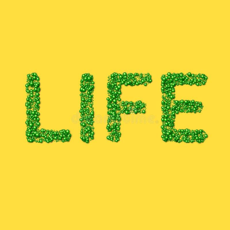 Vie de mots faite de particules ou de substances moléculaires de la vie verte images stock
