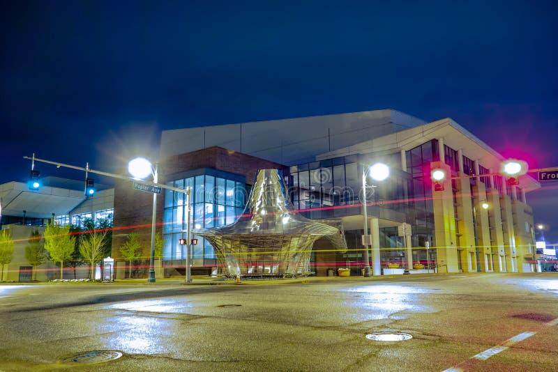 Vie della città di Memphis Tennessee alla notte fotografia stock libera da diritti
