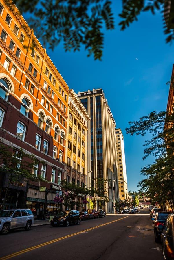 vie della città di Spokane Washington al crepuscolo fotografia stock
