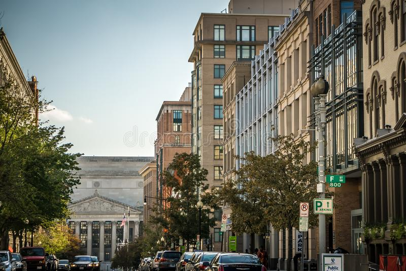 Vie della citt? di DC di Washington ed architettura storica immagini stock libere da diritti