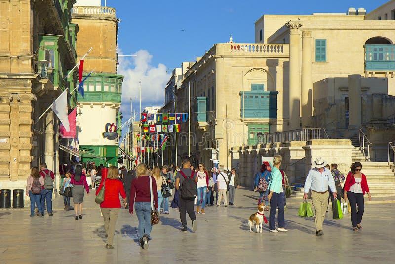 Vie di La Valletta, Malta fotografie stock libere da diritti