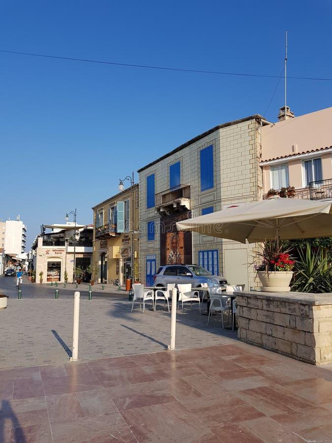 Vie di Larnaca, Cipro fotografia stock