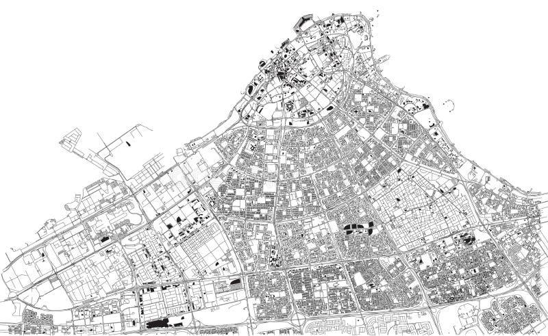 Vie di Madinat al-Kuwait, mappa della città, capitale, Kuwait illustrazione di stock