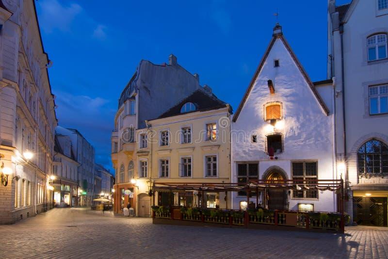 Vie di notte di vecchia città di Tallinn, Estonia fotografia stock