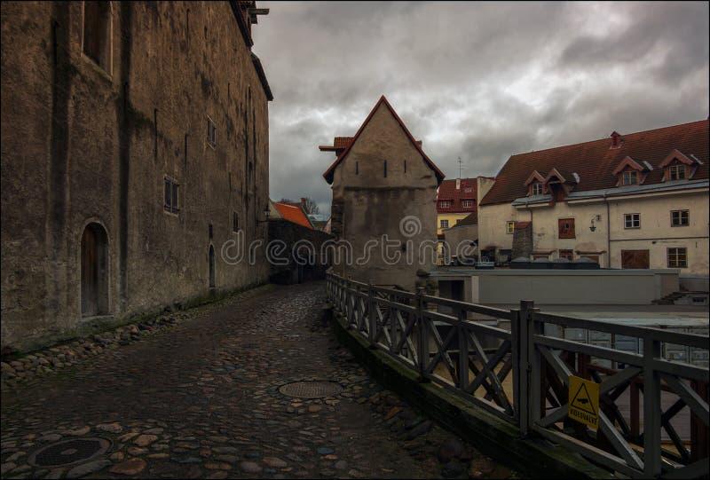 Vie di Tallinn sera immagini stock
