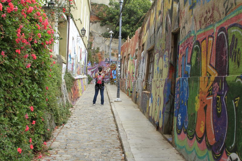 Vie di Valparaiso, Cile fotografie stock