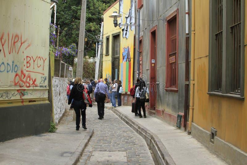 Vie di Valparaiso, Cile fotografie stock libere da diritti