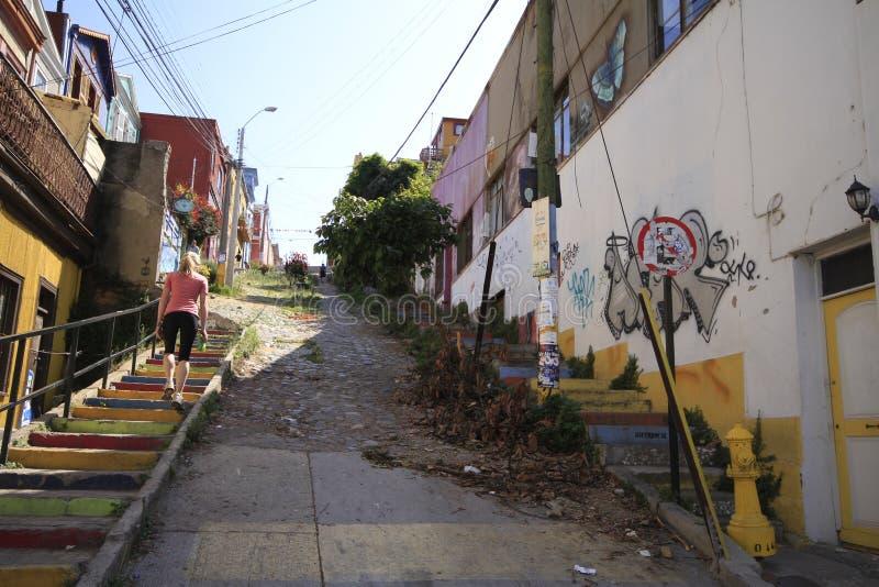 Vie di Valparaiso, Vina Del Mar, Cile immagini stock libere da diritti
