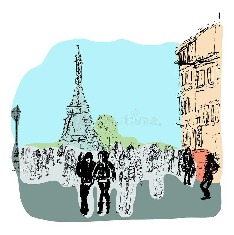 Vie di vettore di Parigi Illustrazione disegnata a mano illustrazione di stock