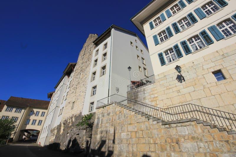 Vie e costruzioni da Aarau, Svizzera fotografia stock