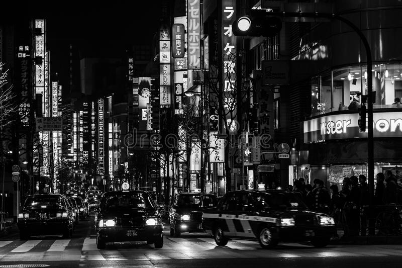 Vie e Taxy a Tokyo fotografie stock libere da diritti