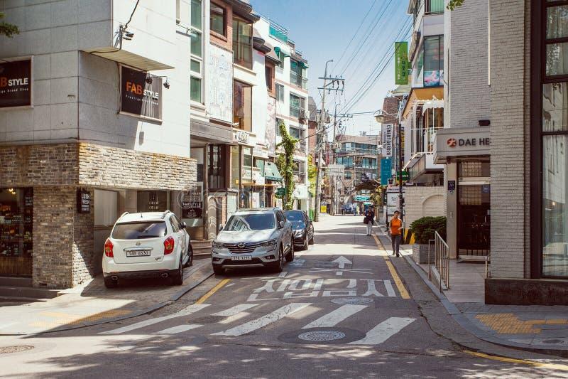 Vie famose di area di Garosu-gil in Gangnam, Seoul fotografia stock libera da diritti