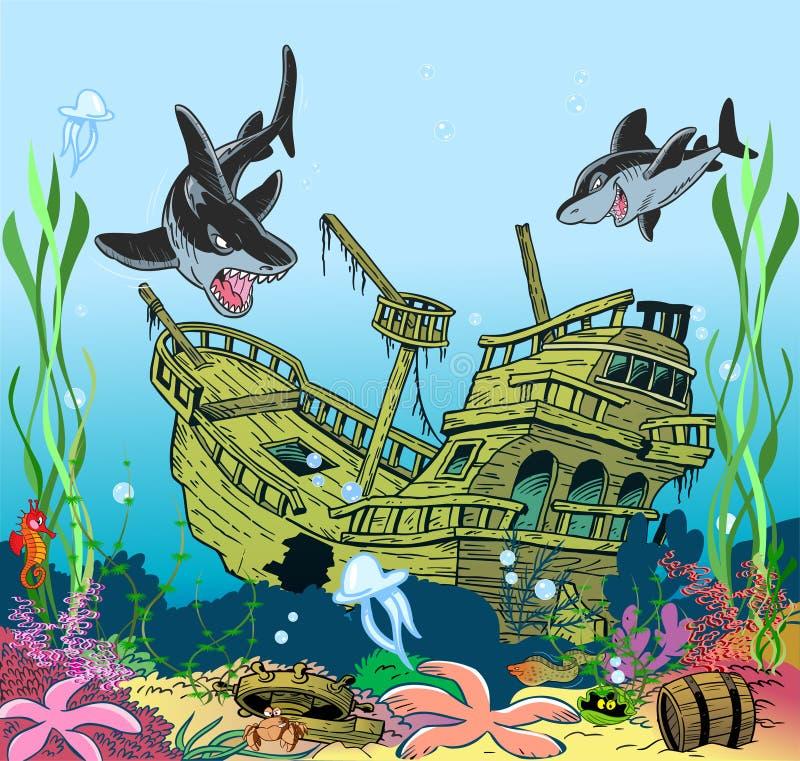 Vie marine sous-marine illustration de vecteur