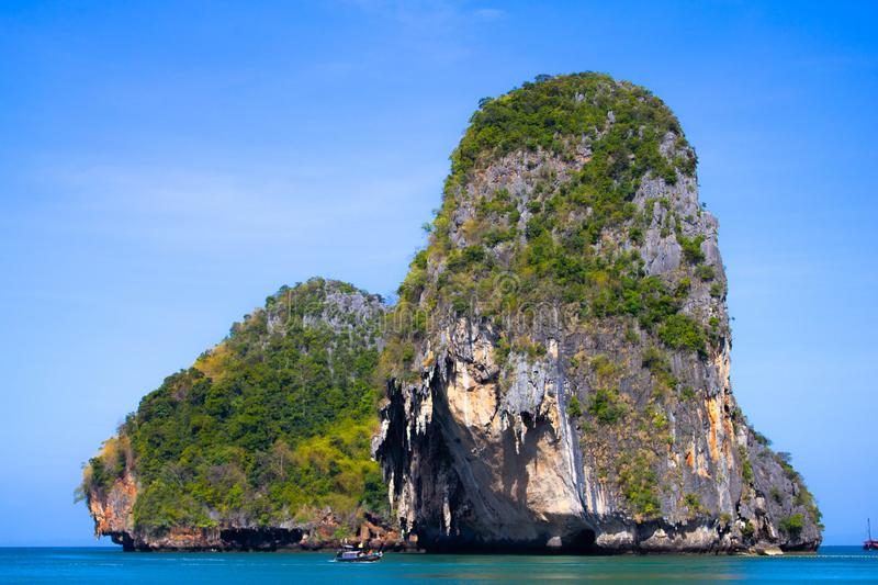 Vie of Maya Bay, Phi Phi island. Hong islands lagoon. Gray green stone rock on the background of crystal clear water in the sea.  stock image