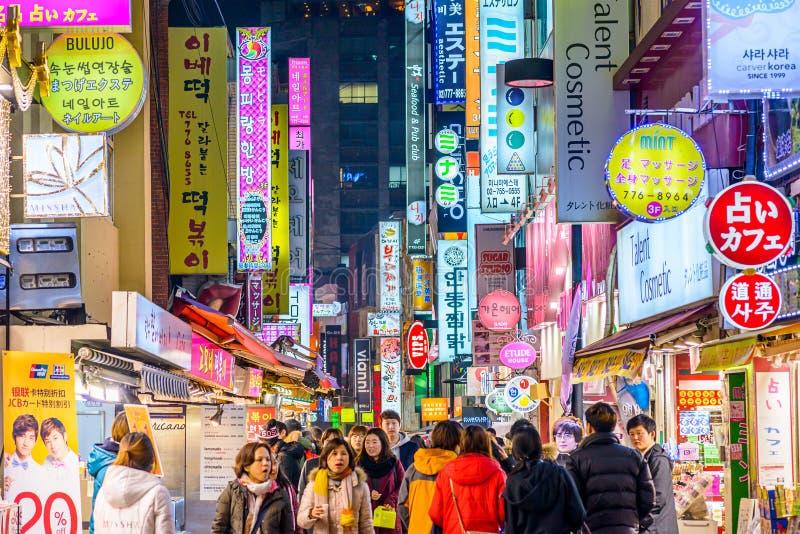 Vie nocturne de Séoul photographie stock libre de droits