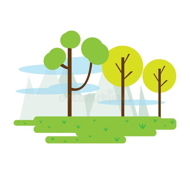 Vie o wof um parque público com árvores ilustração stock