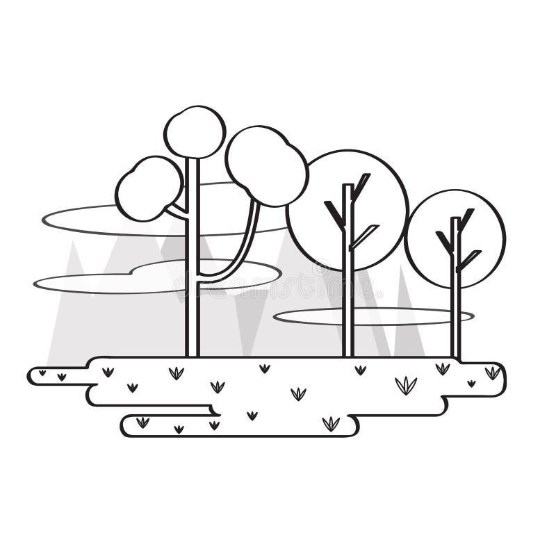 Vie o wof um parque público com árvores ilustração do vetor