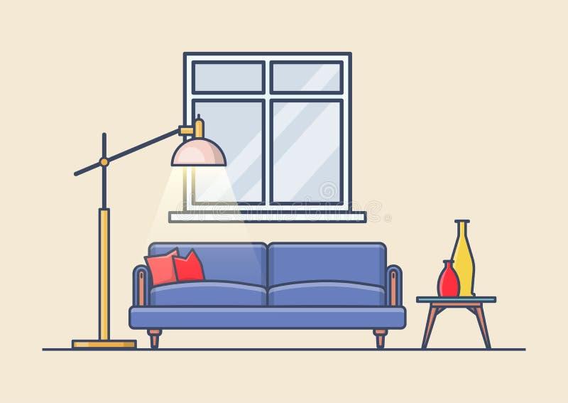 Vie ou toilettes, appartement ou appartement avec le sofa illustration stock