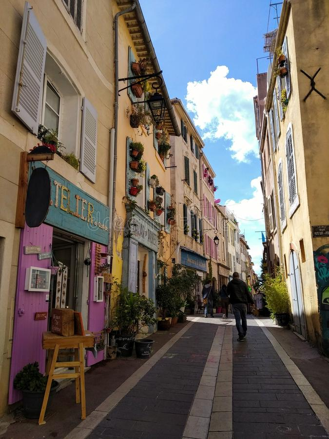 Vie pittoresche di vecchia città di Marcalla, Francia fotografia stock