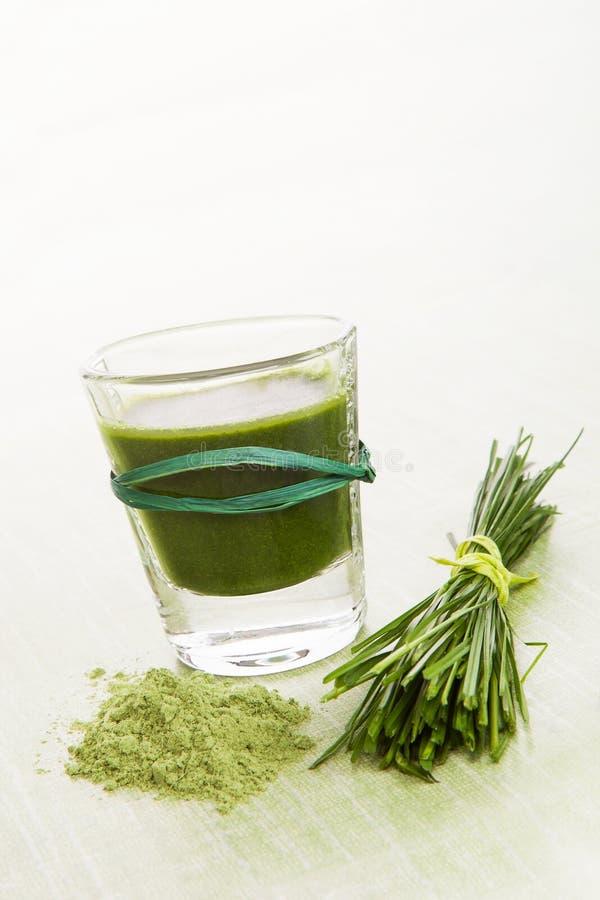 Vie saine. Spirulina, chlorella et wheatgrass. photo libre de droits